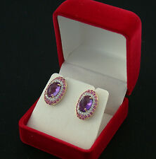 Ohr-Ringe ear rings rose Gold 585 Brillanten diamonds pink Saphir Amethyst