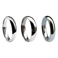 6mm 18ct White Gold Court Profile Wedding Rings Light Med & Heavy 750 UK HM Band
