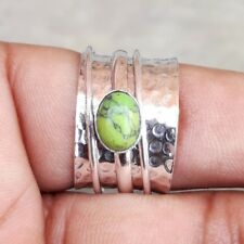 Green Turquoise Solid 925 Sterling Silver Spinner Ring Meditation Ring Size sr50