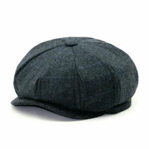 Mens Ladies Peaky Blinder style 8 pannel Baker Boy hats herringbone tweed hat
