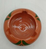 Handmade RED CLAY POTTERY 3 Rest Spots ASHTRAY beautiful colors well made cigar