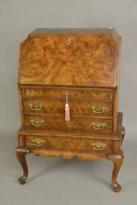 Burled Wood Drop Front Writing Desk Over 3 Drawers,