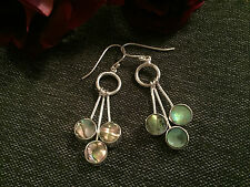 925 STERLING SILVER EARRINGS - REVERSIBLE ABALONE SHELL OR BLACK TRIO DROPS