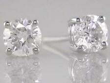 Diamond Solitaire Studs: 2.00ct Certified F VVS2 Exc Round Brilliant in Platinum