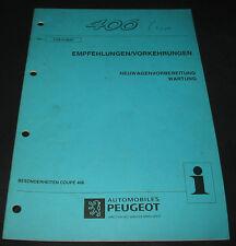 Werkstatthandbuch Peugeot 406 Coupe Wartung Empfehlungsvorkehrungen 06/1997