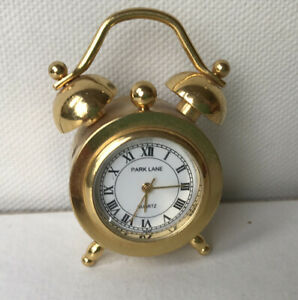 ⏰ Miniature Park Lane Brass Clock 4.5cm High Full Working Order Quartz Battery
