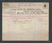 1901 F E SMITH { PLUMBING STEAM HOT WATER HEATING } BATH NY BILLHEAD