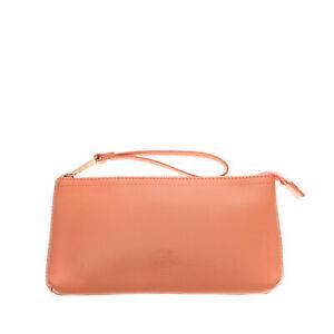 HERSCHEL SUPPLY CO. Leather Clutch Bag Pouch Wristlet Strap Debossed Logo