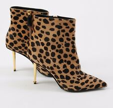 NEW Tom Ford Shoes Goat Hair Leopard High Heels Ankle Boots Bootie Size 39 9