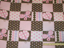 Butterflies & Ladybugs Pink & Brown Fleece Fabric   by the Yard
