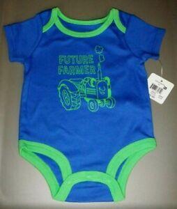 NWT Infant Boy's Size 0-3 Months🚜 FUTURE FARMER🚜 Short Sleeve Blue CUTE!🚜 🚜