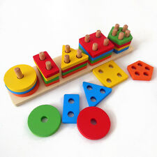 Montessori wooden toy baby gift colorful geometric 5 sets of columns macth game