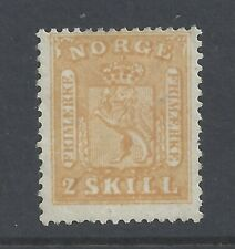 NORWAY 1863 2sk. yellow MH  SG 12  signed