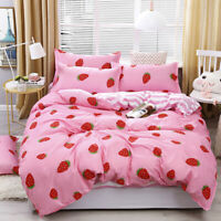 Twin Full King Cute Printed 4Pcs Bedding Sets Pillowcase Flat Sheet Duvet Cover