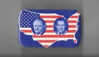 1968 UNUSUAL pin Hubert HUMPHREY pinback Ed MUSKIE Jugate US MAP button