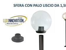 LAMPIONE LAMPADA DA ESTERNO LAMPIONCINO  CON BASE  PALO SFERA TRASPARENTE