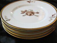 4 pcs Royal Copenhagen Brown Rose Bread & Butter Plates Gold Trim Denmark 688