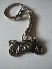 Sport Motor Bike Made From Fine English Pewter on a Snake Keyring cw30