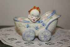 Vintage.Ceramic.Baby In A Buggy.Planter.Occupied Japan