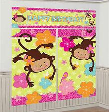 MONKEY LOVE Scene Setter HAPPY BIRTHDAY party 6'  wall decoration kit  jungle