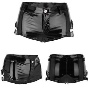 Women's We Look PVC Leather Zipper Side Studded Booty Shorts Hot Pants Clubwear