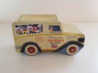 TAVENERS Vintage Tin Van Truck Sweet Storage Biscuit Cookie Jar Pot  EXCELLENT