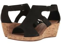 Women's Shoes Clarks Un Plaza Strap Caged Open Toe Wedge 32320 Black  *New*