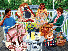 Jigsaw Puzzle Americana Quilts Back Porch Sewing Circle 1000 pieces NEW Made USA