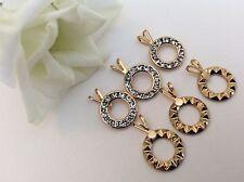 Colgantes Vintage Dorado círculos diamantes 11mm 4 Round Pack 3 Arte Correo Gratis