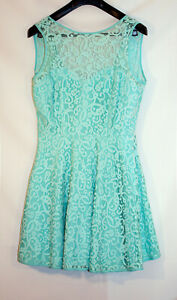 FORMAL PARTY DRESS MINT GREEN LACE DROP BACK SIZE 16 NEW