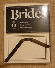 Gartner www.Brides.com 40 Ivory Table cards with brown ribbons, New