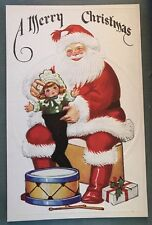 Colorful  SANTA CLAUS with Stocking Doll~Drum Antique Christmas Postcard-g90
