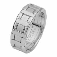 Royal Duet men's ladder style 18ct white gold wedding ring