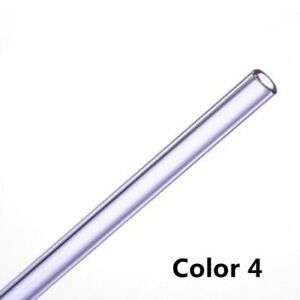 1pc New Reusable Straight Pyrex Glass Drinking Straw Simple Pure Color Party