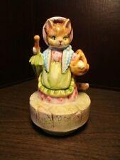 Vintage Schmid Mrs Ribby Cat Beatrix Potter Music Box - Plays Tiny Dancer Japan