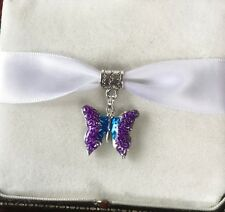 PURPLE BUTTERFLY DANGLE BAIL CHARM TIBETAN SILVER FOR BRACELET NECKLACE