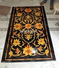 4'x2' Black Marble Dining Side Table Top Inlaid Hakik Floral Living Decor 2875