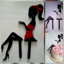 Elegant Lady silhouette girl, woman, fairy,black acrylic cake topper decoration