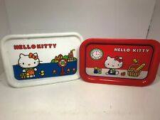 Sanrio 1976 Hello Kitty Vintage Metal Plastic Tray Lot Japan