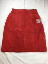 Wilson's Leather Expert Women's Leather Red  Suede Lined Skirt Size 6