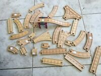 Large  Lot of wood Train Tracks TRAINS Set Signs Play Thomas Tank Engine