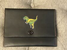 Authentic NEW  Coach Black Leather REXY Turnlock Clutch  Dinosaur 8.75'' x 6.75'