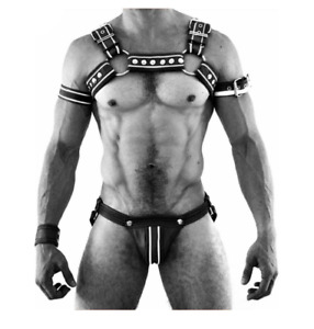 Mens Black and White Leather Harness Gay Interest Clubwear Adjustable with Jock