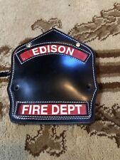 ORIGINAL EDISON NJ FIRE FIGHTERS LEATHER SHIELD-FIREMAN'S HELMET