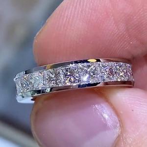 4.80 TCW Princess Cut DVVS1 Moissanite Wedding Band in 14K White Gold Plated