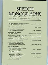 SPEECH MONOGRAPHS Journal #4 1968 Dylan Thomas Lowell Latimer Nixon-Truman