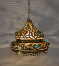 Handcrafted Moroccan Jeweled Matte Gold Brass Ceiling light Fixture Lamp