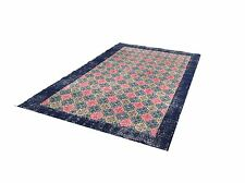 "7'11""x4'7""  ART DECO RETRO BLUE pink TURKISH oushak  Vintage Overdyed carpet rug"