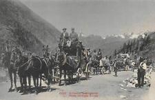 SCHWEIZ GABIRGSPOST SWITZERLAND MAIL DELIVERY WAGONS HORSES POSTCARD (c. 1910)