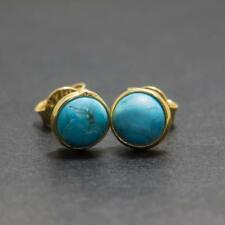 Stunning 2.00ctw Natural Turquoise 14K Yellow Gold Sterling Silver Earrings